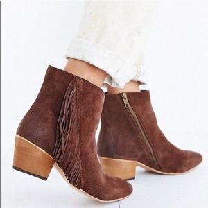 Anthro Seychelles Good Advice Fringe Ankle Booties
